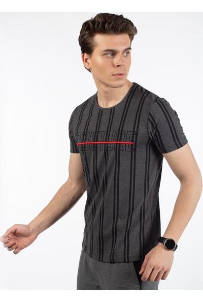 Bysorex O Yaka Coutere Baskili T-Shirt- Antrasit