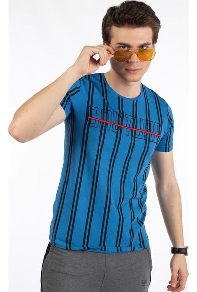 Bysorex O Yaka Coutere Baskili T-Shirt- Mavi