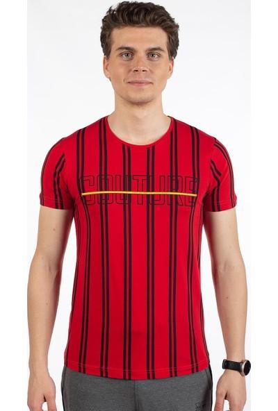 Bysorex O Yaka Coutere Baskili T-Shirt- Kirmizi
