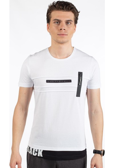 Bysorex O Yaka Göğüs Fermuarli T-Shirt- Beyaz