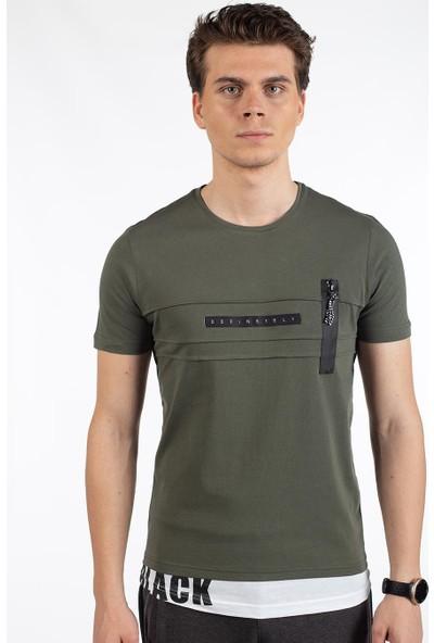 Bysorex O Yaka Göğüs Fermuarli T-Shirt- Haki
