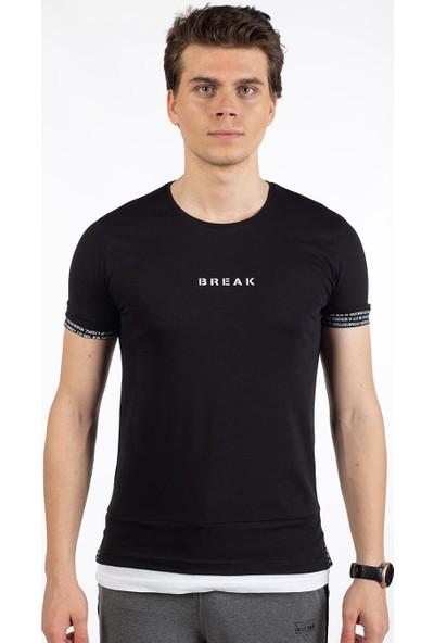 Bysorex O Yaka Break Baskili T-Shirt- Siyah