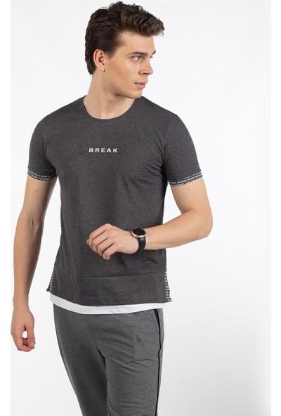Bysorex O Yaka Break Baskili T-Shirt- Antrasit