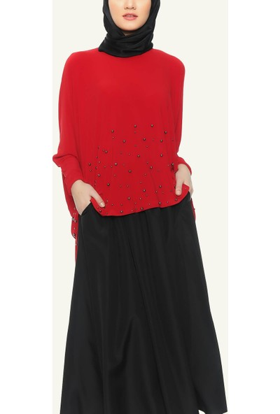 Wathka Kadın Inci Çakmalı Bluz - Kırmızı