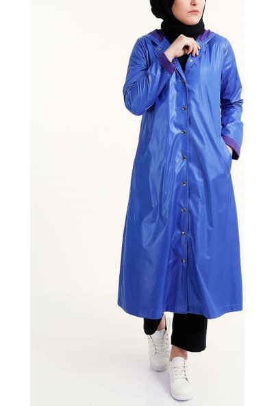 Wathka Kadın Kapşonlu Yağmurluk - Mavi