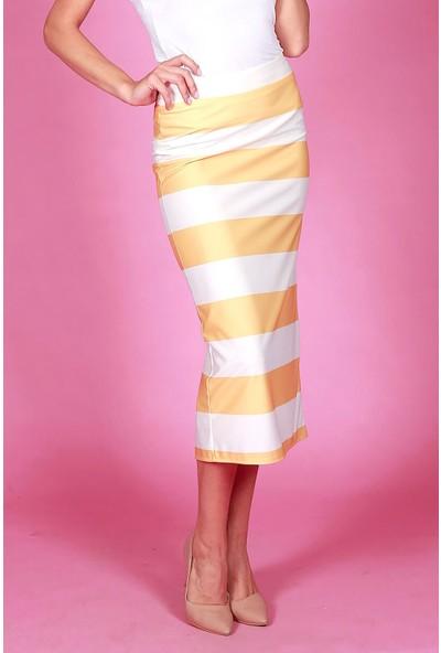 Wathka Kadın Sarı - Çizgili Kalem Etek