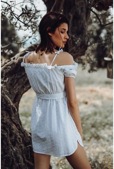 Blanca Nına Of The Shoulder Beyaz Brode Kumaş Elbise (Xl)