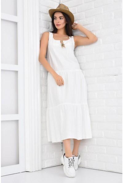 Parkkaron Kadın Bağcıklı Volanlı Uzun Jile Elbise