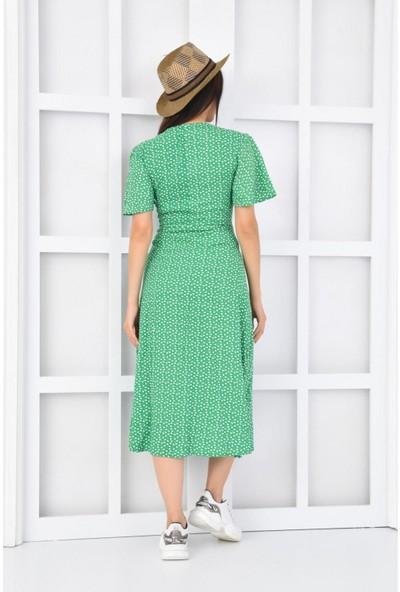 Parkkaron Kadın Baskılı Önden Bağcıklı Düğmeli Karpuz Kol Uzun Elbise
