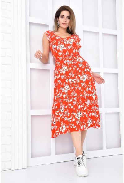 Parkkaron Kadın Çicek Baskılı Sıfır Kol Fırfırlı Uzun Elbise