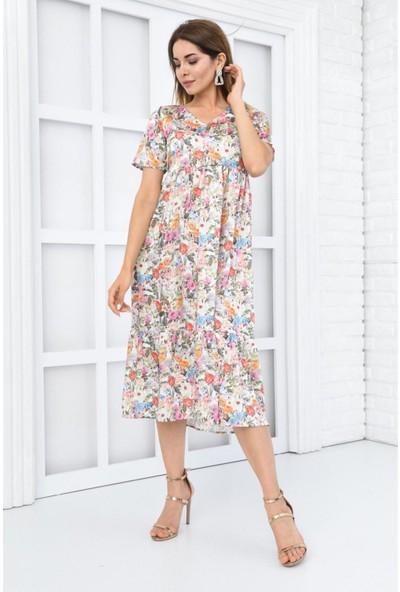 Parkkaron Kadın Çok Renkli Çiçek Desenli Kısa Kol Yazlık Elbise