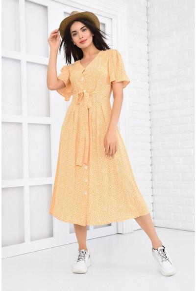 Parkkaron Kadın Desenli Bağcıklı Önden Düğmeli Uzun Emprime Elbise