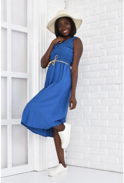 Parkkaron Kadın Hasır Kemerli Büzgülü Kolsuz Uzun Elbise