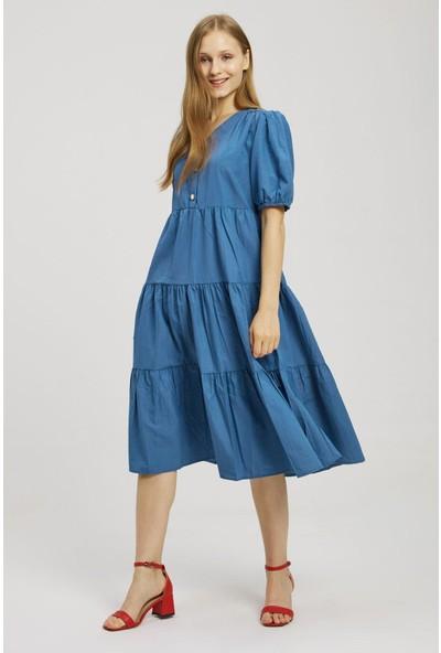 Z Giyim Kadın Mavi Kol Ağzı Lastikli Düğme Detaylı Elbise