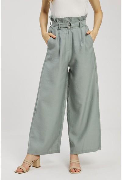 Z Giyim Z Giyim Kadın Yüksek Bel Geniş Paça Kumaş Pantolon