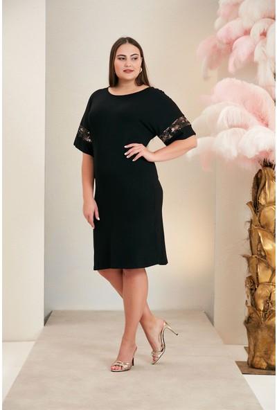 Rmg Kol ve Sırt Detaylı Büyük Beden Siyah Elbise