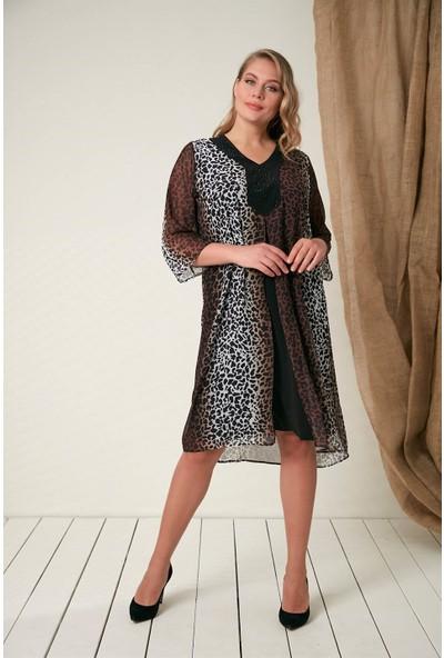Rmg Taş Detaylı Büyük Beden Leopar Elbise