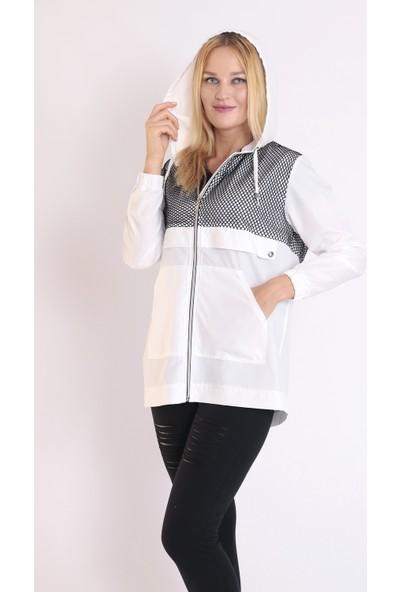 Moda Tuğram Beyaz Yağmurluk