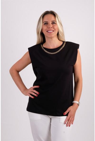Qu Style Zincir Kolyeli Vatkalı T-Shirt