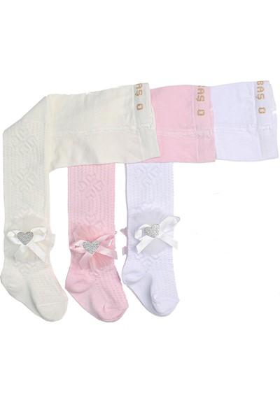 İlbaş Pamuklu 3 Adet Aksesuarlı Kız Bebek ve Çocuk Külotlu Çorap