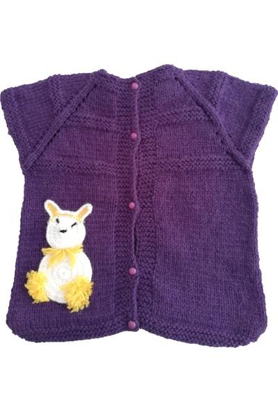Nuh Home Kız Çocuk El Yapımı Mor Renkli Kışlık Yelek-Tavşan Desenli Yelek