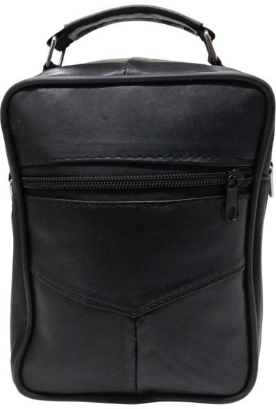 Cascades Leather Deri Siyah Omuz Askılı Erkek El Çantası