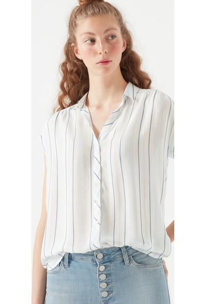 Mavi Kısa Kollu Çizgili Beyaz Gömlek 122263-30718