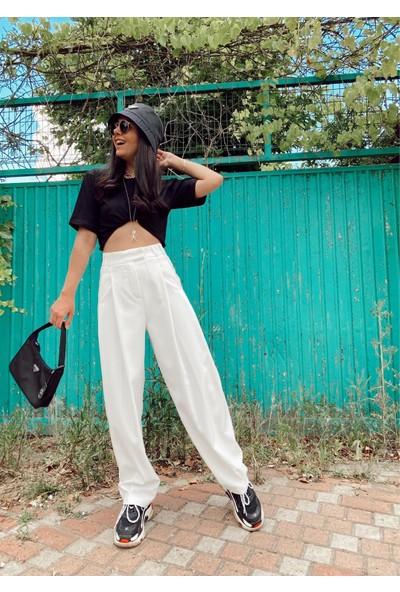 Seda Yalçın Atelier Beyaz Pileli Havuç Pantolon
