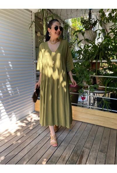Seda Yalçın Atelier Haki Salaş Keten Elbise