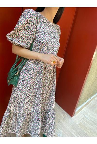 Seda Yalçın Atelier Kabarık Kollu Çiçekli Elbise