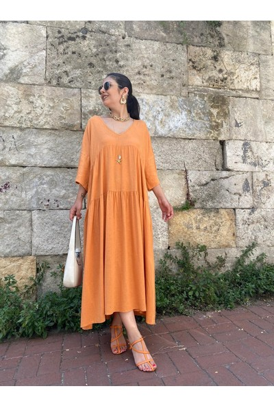 Seda Yalçın Atelier Turuncu Salaş Keten Elbise