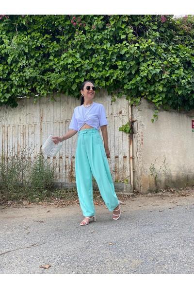 Seda Yalçın Atelier Yeşil Pileli Havuç Pantolon