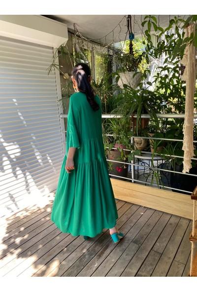 Seda Yalçın Atelier Yeşil Salaş Keten Elbise