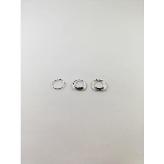 Takıparkxs Delik Olmadan Takılabilen Sıkıştırma 925 Ayar Gümüş Üçlü Halka Hızma Set