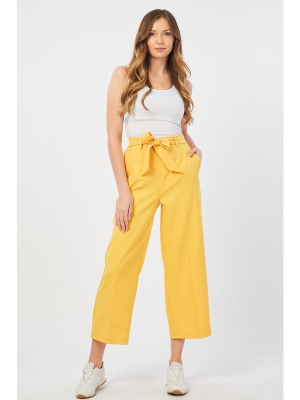 Bazza Bol Paça Sarı Pantolon