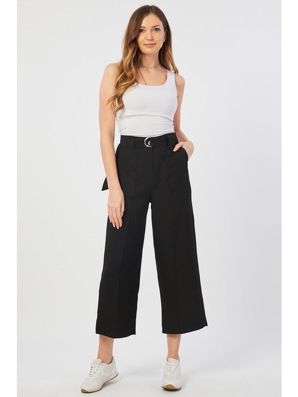 Bazza Dıştan Cepli Siyah Kadın Pantolon