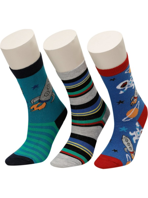 I Cool Smıle 3 Lu Sneaker Ptk-B Gri Multı Erkek Çocuk Çorap