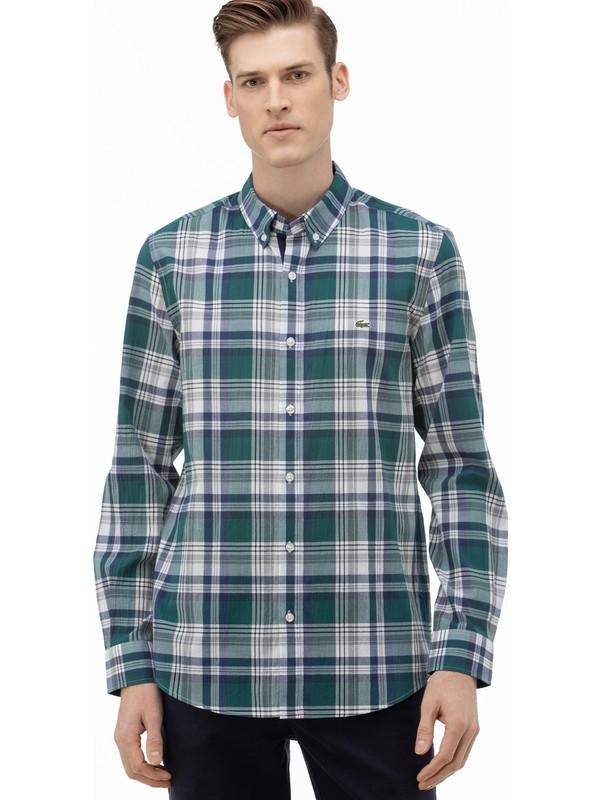 Lacoste Erkek Slim Fit Düğmeli Yaka Ekose Desenli Haki Gömlek CH0075.75Y