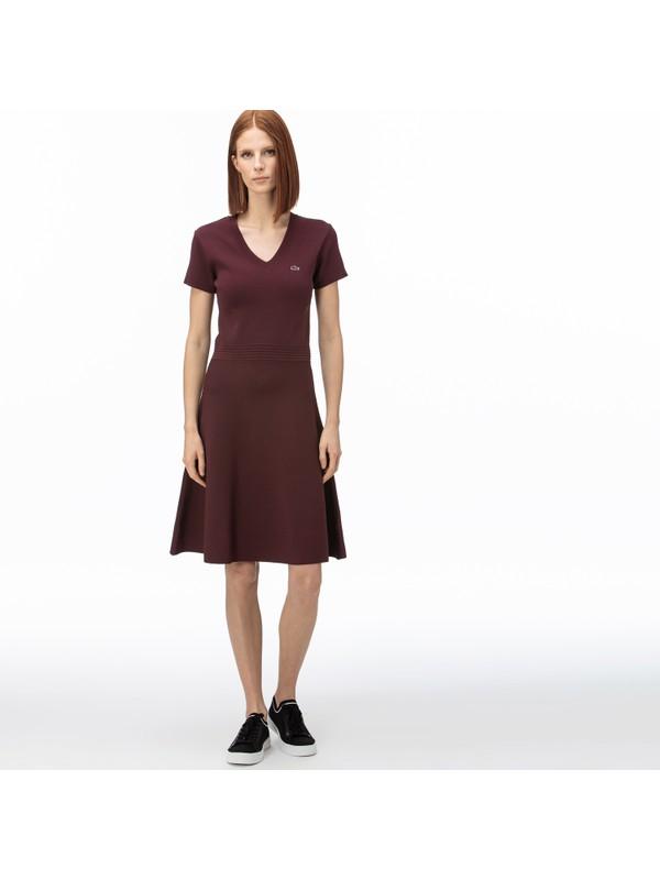 Lacoste Kadın V Yaka Kısa Kollu Bordo Elbise EF0059.59R