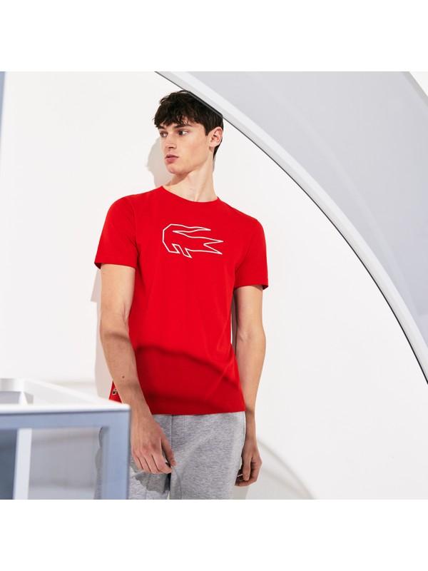 Lacoste Sport Erkek Bisiklet Yaka Timsah Baskılı Kırmızı T-Shirt TH4845.C9U