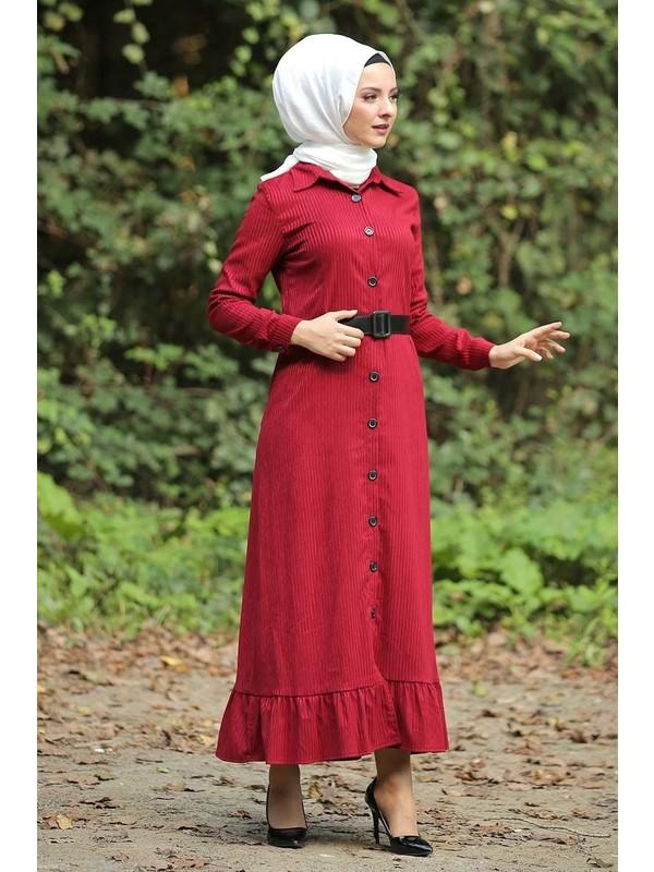 Tesettur Dunyasi Volanli Kadife Elbise Tsd1847 Kirmizi Fiyati