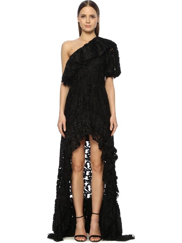 Network Kadın Tek Omuz Yaka Siyah Abiye Elbise