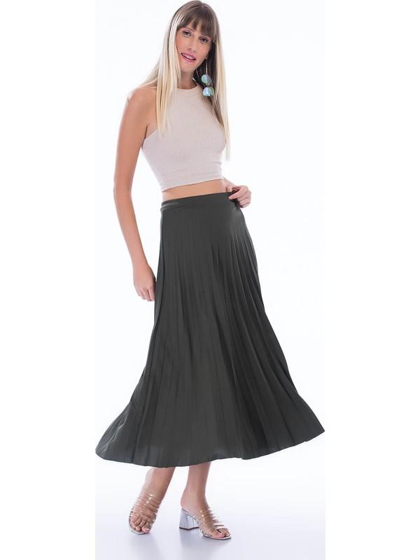 Cotton Mood 8272693 Mira Pliseli Beli Lastikli Uzun Etek