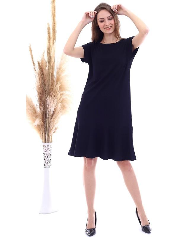 Cotton Mood 20063126 Süprem Eteği Volanlı Kısa Kol Elbise Siyah