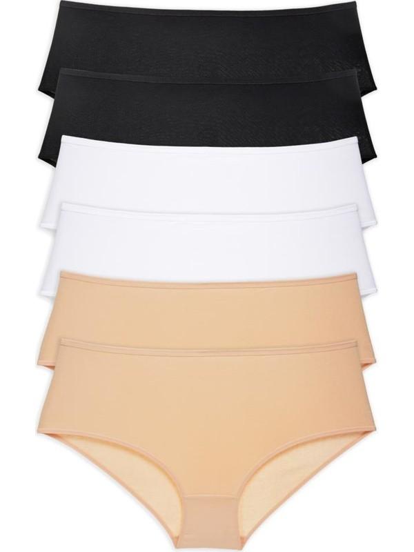 LadyMelex Kadın Siyah - Beyaz - Ten 6'lı Paket Yüksek Bel Bato Külot