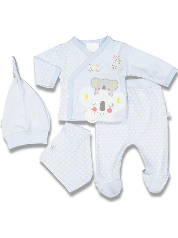 Babybips Koalalı Puantiyeli Erkek Bebek 5'li Hastane Çıkışı