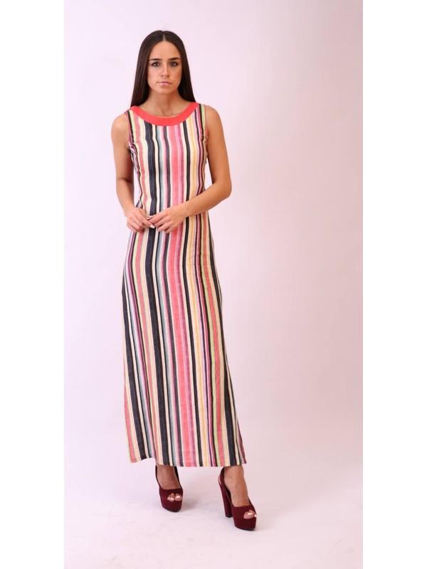 Aclassics Gökkuşağı Çizgili Uzun Keten Elbise