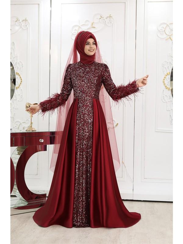 Pınar Şems Ipek Abiye Bordo
