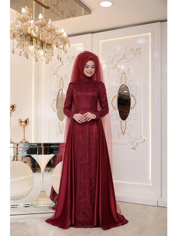 Pınar Şems Ikbal Abiye Bordo
