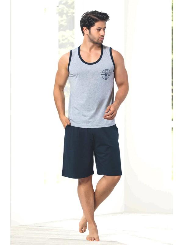 Manolya Nisanca %100 Pamuk Gri Yazlık Şortlu Erkek Pijama Takımı